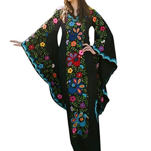 Bluelucon dames vintage V-hals maxikleding boho lange mouwen etnische print winterjurk klokkenmouwen Victoriaanse vloerlange jurken