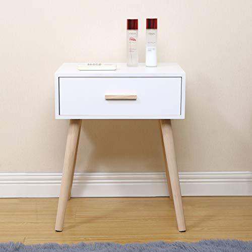 Radelldar Scandinave Tables d'appoint Bois Blanc Table de Chevet Retro Table de Nuit avec 1 Tiroir pour Salon, Chambre, Couloir, Bureau, (Blanc 1 Tiroir Scandinave)