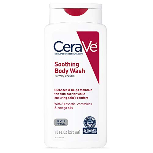 CeraVe Soothing Body Wash | 10 oz | Dry Skin Relief & Eczema Treatment Shower Gel for Itchy Skin | Fragrance Free | Packaging May Vary