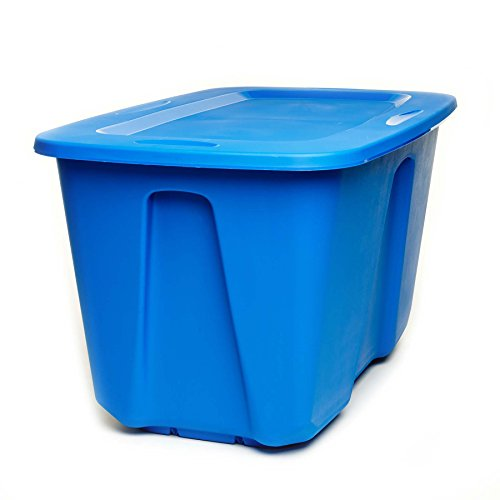 Homz Plastic Storage Tote with Lid 32 Gallon Blue Stackable 2-Pack