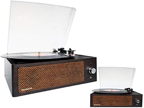 Retro Plattenspieler | Aufnahmefunktion über USB | Line Out | Aux-In | Kopfhöreranschluss | Schallplattenspieler | Nostalgie Plattenspieler | Vinyl Spieler | Turntable | Retroanlage (Dunkelbraun)