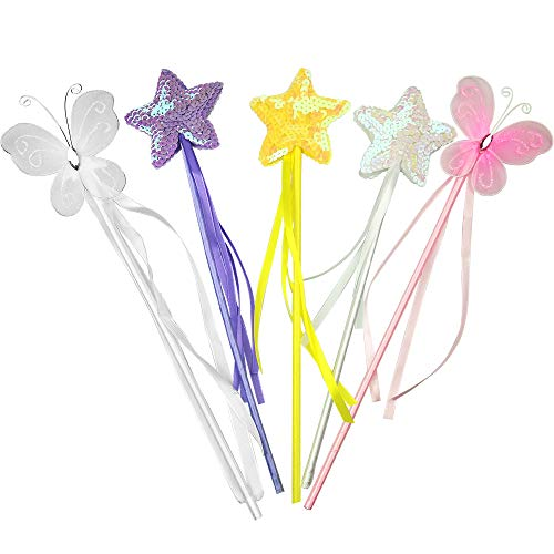 PiPiHa Princess Wand Kit for Girls Magical Toy Wands for Dress Up Halloween Costume Magic Shows Cosplay Birthday Party Baby Showers Butterfly and Star Wands
