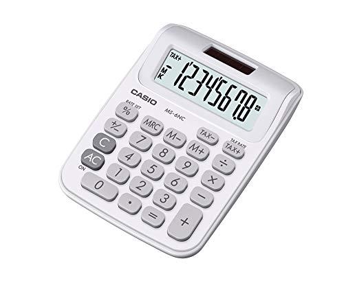 Mini Calculadora de Mesa com Visor 8 Dígitos, Casio, MS-6NC-WH, Branca