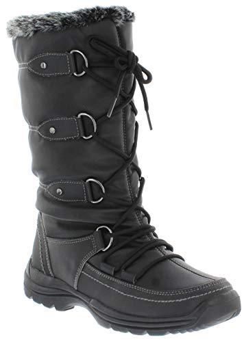 sporto Women's Tessa Waterproof Fashion Snow Boots, Black, 8 M US