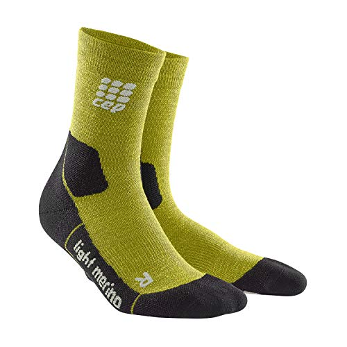 CEP – HIKING LIGHT MERINO MID CUT SOCKS für Herren | Warme Wandersocken in grün | Größe IV