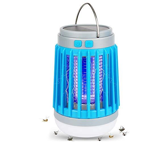 Matamoscas para camping, insectos, lámpara UV eléctrica para mosquitos Killer LED lámpara de camping solar, protección contra mosquitos, lámpara de tienda campaña recargable por USB y gancho, azul