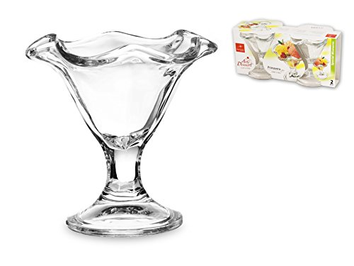 Bormioli 1335000 Set de 2 Coupes à Glace en Verre Primavera, 24 Cl, Transparent