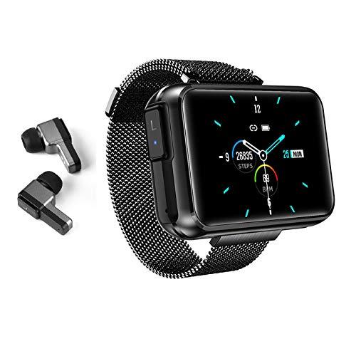 Reloj inteligente con auriculares Bluetooth inalámbricos, pulsera inteligente para hombres y mujeres, monitor de presión arterial, monitor de ritmo cardíaco