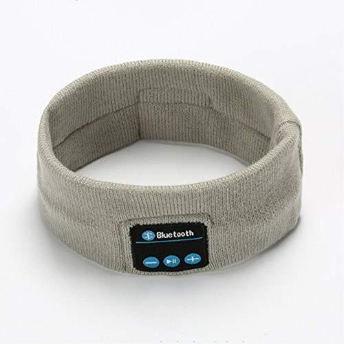Yiwa V5.0 Gebreide haarband, Bluetooth, voor hardlopen, fitness, sport, muziek, oproepen, breien, headwrap, grijs.