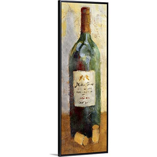 Red Wine and Cork Black Floating Frame Canvas Art 14x38x175