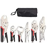 Justech 6 Pack Set Locking Pliers Set, 5-Inch 7-Inch and 10-Inch Curved Jaw Locking Pliers 5-Inch and 9-Inch Long Nose Locking Pliers 5-Inch C-Clamp Locking Pliers, Fast Release Set with Storage Bag