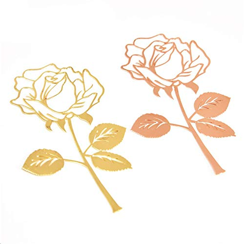 2 PCS Metal Rose Bookmark Exquisite Book Marks Exquisite Metal Bookmark Chinese Style Bookmark Kids Reading, Gold & Rose Gold for Men & Women Adults Valentines/Graduation Birthday Gifts
