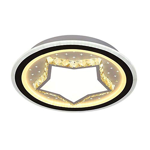 HLL Lámpara de Techo, Lámpara de Techo Led Lámpara de Techo de Cristal Tricolor Regulable de Acero Inoxidable Pantalla de Acrílico Lámpara de Salón Redonda de Moda Lámpara de Cristal de Moda Moderna