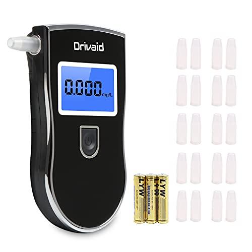 Drivaid Ethylotest Electronique, Alcootest Professionnel avec Haute Sensibilité Semi-Conducteur, Numérique Ecran LCD, 3 Unités Mesure, Testeur d'alcool Portable avec 20 Embouchures