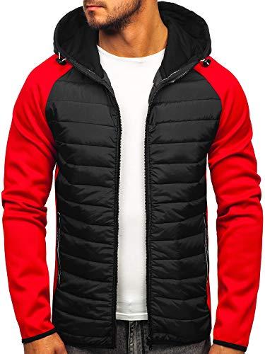 BOLF Hombre Chaqueta Acolchado de Entretiempo con Capucha Cierre de Cremallera Estilo Deportivo J.Style KS1882 Rojo-Negro XXL [4D4]