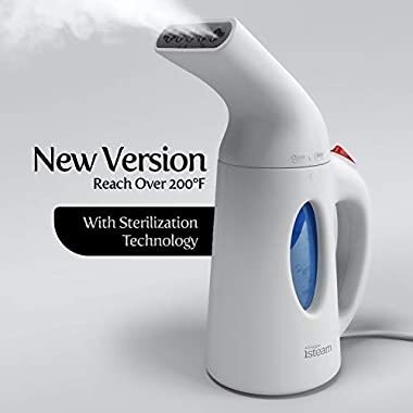 iSteam Steamer for Clothes [Home Steam Cleaner] Powerful Travel Steamer 7-in-1. Handheld Garment Steamer, Wrinkle Remover. Portable Fabric Steam Iron. Clothing Accessory for USA 110-120v [H106]