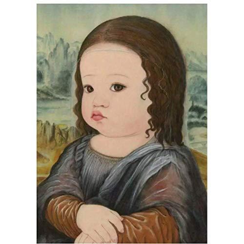 NRRTBWDHL Schöne Cartoon Baby Mona Lisa Leinwand Gemälde Wandkunst Poster und Drucke für Kinderzimmer Babyzimmer Wandbilder Dekor-50X70Cm No Frame
