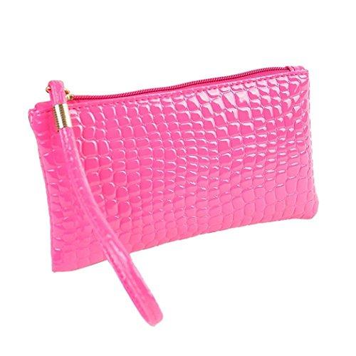 Eenkula Pelle di coccodrillo donne della frizione della borsa della borsa della moneta (rosa caldo)