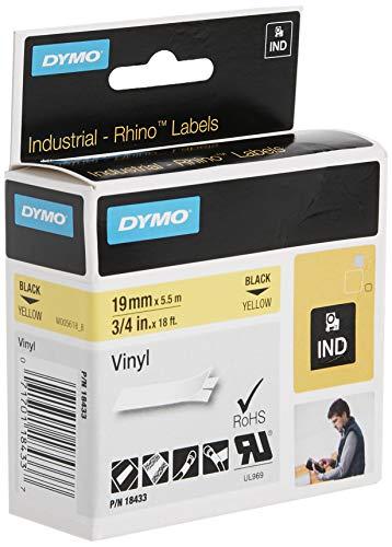 Dymo 18433 Rhino Vinyl-Etiketten (für die Industrie, 19 mm x 5,5 m, Selbstklebend) schwarze Schrift auf gelb