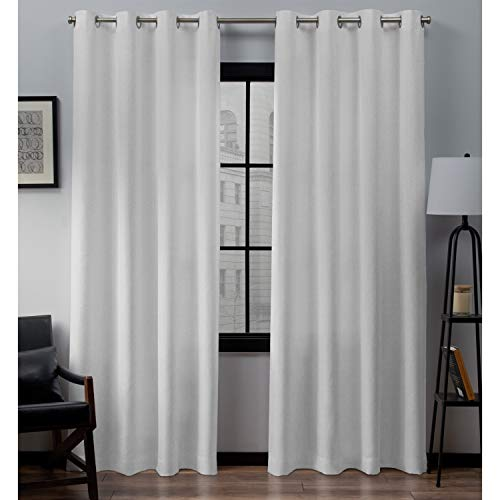 Exclusive Home Curtains Loha Linen Grommet Top Curtain Panel Pair, 52x84, Winter White