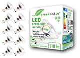10x Spot LED greenandco IRC90+ GU10 4000K 36° 7W (corresponde a 60W) 510lm SMD LED 230V AC, sin parpadeo, no regulable