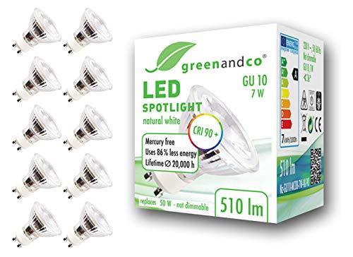 10x greenandco® CRI90+ 4000K 36° LED Spot neutralweiß ersetzt 60 Watt GU10 Halogenstrahler, 7W 510 Lumen SMD LED Strahler 230V AC, nicht dimmbar, flimmerfrei, 2 Jahre Garantie