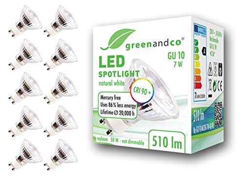 10x Spot LED greenandco® IRC90+ GU10 4000K 36° 7W (corresponde a 60W) 510lm SMD LED 230V AC, sin parpadeo, no regulable