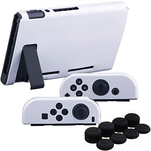YoRHa Empuñadura Silicona Caso Piel Fundas Protectores Cubierta para Nintendo Switch/NS/NX Joy-Con Mando y Tableta (Paquete de Plata Negro) con Joy-Con Los Puños Pulgar Thumb Grips x 8