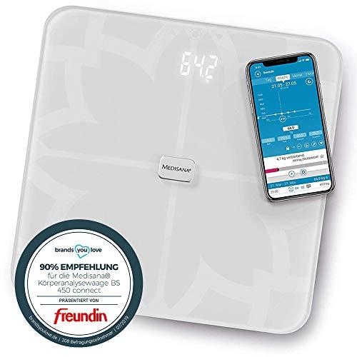Medisana BS 450 connect báscula analítica digital de 180 kg, báscula personal para medir la grasa corporal, el agua corporal, la masa muscular, el peso de los huesos, báscula de grasa corporal