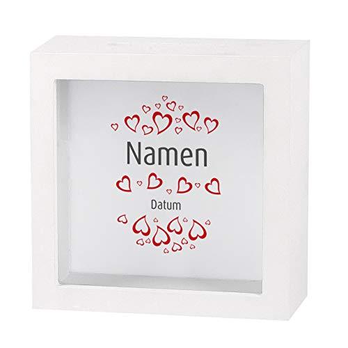 Herz & Heim® Geldgeschenk zur Hochzeit als Bedruckte Bilderrahmen Spardose - individuell für Sie erstellt mit Namen und Datum Herzen