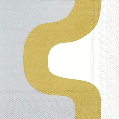 Ideal Home Range L878809 20 Count Paper Lunch Napkins, Marimekko Seireeni Gold