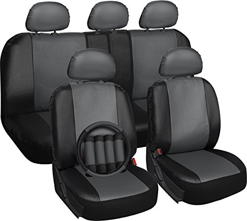OxGord Set PU Leather Car Seat Cover Set - Airbag - Front Low Back Buckets - Universal Fit for Car, Truck, SUV, Van - Steering Wheel Cover and Seat Belt Cushion