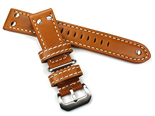 Sulla 22mm XL Kalbseder robust Uhrenarmband Fliegerband hell braun Tan AW