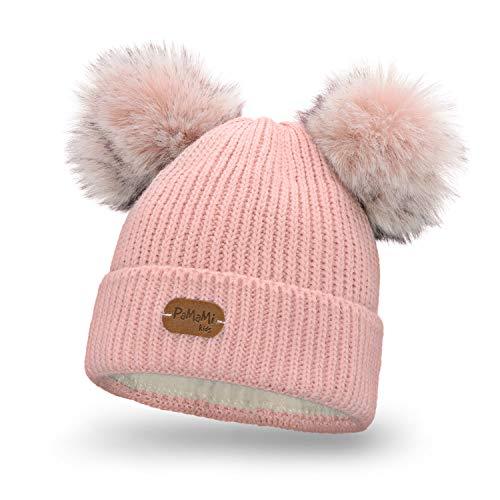 PaMaMi Kinder Mädchen-Set Strick Mütze mit doppeltem Bommel und Umschlag | Puder rosa | 85% Acryl, 15% Polyamid | Gr. 50-55 cm | Alter 3-7 Jahre