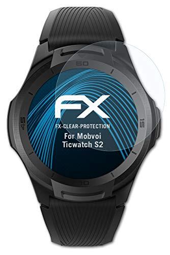 atFoliX Schutzfolie kompatibel mit Mobvoi Ticwatch S2 Folie, ultraklare FX Bildschirmschutzfolie (3X)