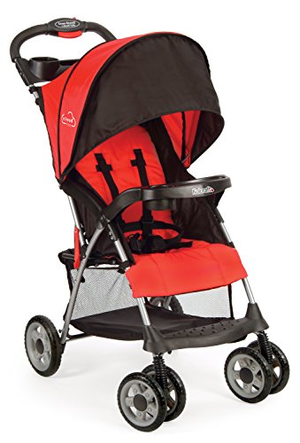 Kolcraft Cloud Plus Lightweight Easy Fold Compact Travel Baby Stroller, Fire Red