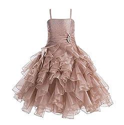 Rose Gold Rhinestone Organza Layer Flower Girl Dresses