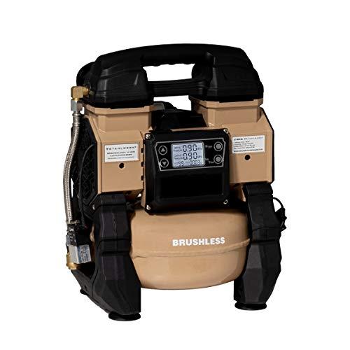 STAHLWERK Brushless Akku Flüsterkompressor Druckluft Kompressor mit 600 W modernste Brushless Technologie, verschleißfreier 2-Kolben-Motor 9 Bar 65L mit integriertem Digital Display