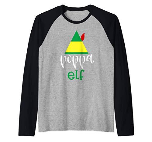 Mens Poppa Elf Familia Grupo Navidad Papá Padre Abuelo Camiseta Manga Raglan