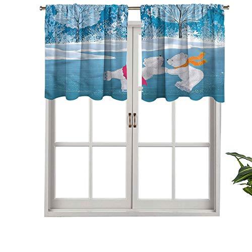 Hiiiman - Cortina opaca corta para cenefa, con bolsillo para barra de patines en el lago congelado, juego de 1, cortinas de cocina de 91 x 45 cm para sala de estar
