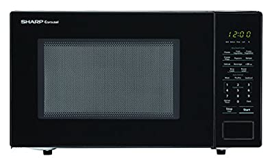 SHARP Black Carousel 1.1 Cu. Ft. 1000W Countertop Microwave Oven (ISTA 6 Packaging), Cubic Foot, 1000 Watts