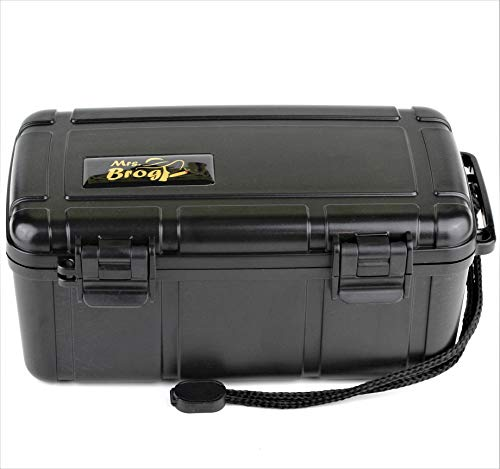 Mrs. Brog waterproof, airtight & durable travel cigar humidor case - holds up to 15 cigars with accessories