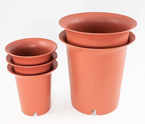 5 Round Cascade Plastic Bonsai Pot, Succulent & Orchid Planter 4.25' / 6.5'