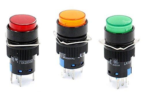 Woljay 16mm Commutateur à bouton poussoir Momentané Ronde LED Lampe Rouge Orange Vert Lumière DC 12V SPDT 5Pin 3 Pcs