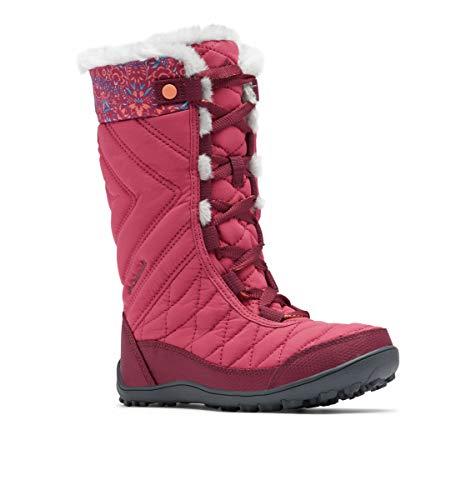 Columbia Girls Minx Mid III Print Omni-Heat Hiking Boot, Dark Fuchsia/Lychee, 4 Big Kid