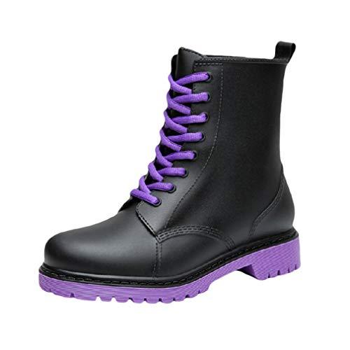 Yying Damen Gummistiefel Wasserdicht rutschfest Regenstiefel Schnüren Martin Stiefel Einfarbig Freizeit Stiefeletten Chelsea Stiefel