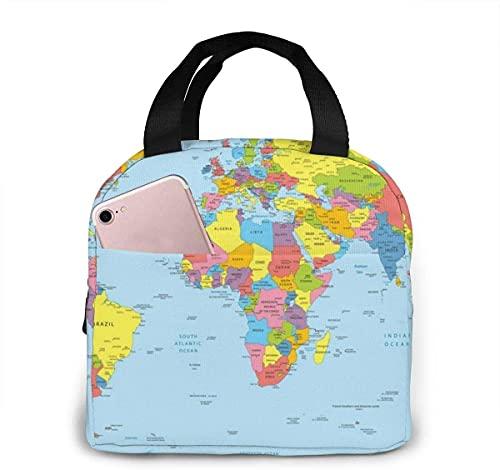 Wold Map Pattern Bolsa de almuerzo aislada portátil con cremallera impermeable, lavable y reutilizable, adecuada para viajes al aire libre, picnic, escuela, oficina.