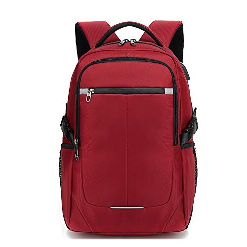 Ang-xj Men's backpack travel leisure business computer Korean fashion trend high school student schoolbag travel backpack waterproof, breathable,wear-resistant,anti-theft,anti-shock (Color : Red)