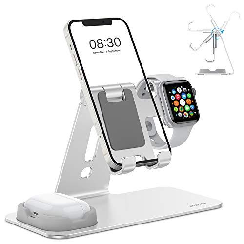 OMOTON Soporte 3 en 1, Soporte Móvil y Reloj Ajustable de Aluminio y Base Estable para Apple Watch SE/6/5/4/3/2/1 Modo de Mesita de Noche, Airpods Pro/2/1,iPhone 12/11/11Pro/XS/SE 2020/XS/XR, Plata