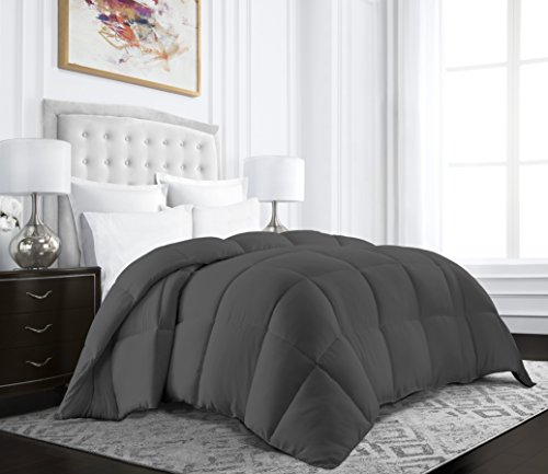 Beckham Hotel Collection Egyptian Quality Cotton Goose Down Alternative Comforter - 750 Fill Power - Premium Hypoallergenic All Season Duvet - Twin/Twin XL - Gray
